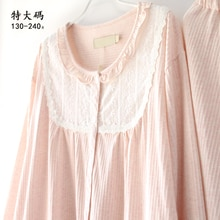Immortal Thin Long-Sleeved Pajamas Set Lace Cotton Spring and Summer Extra Large Size Fat Girl Homew