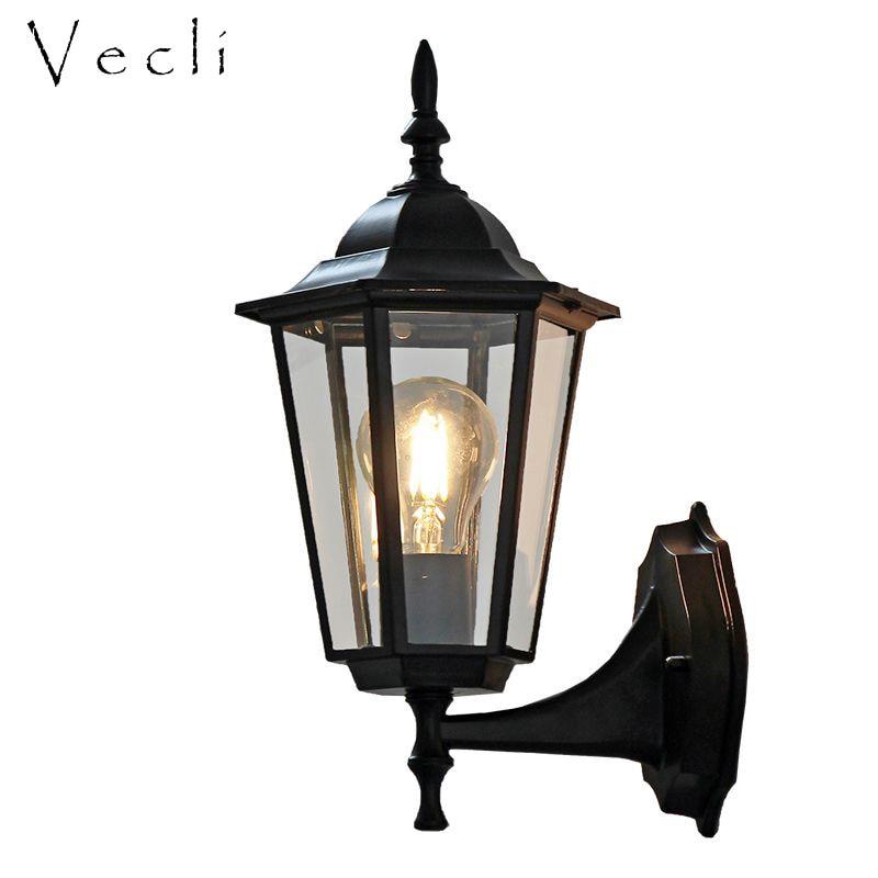 مصباح جداري عتيق مقاوم للماء على الطراز الأوروبي ، مصباح خارجي ، مصباح شرفة ، ديكور حديقة