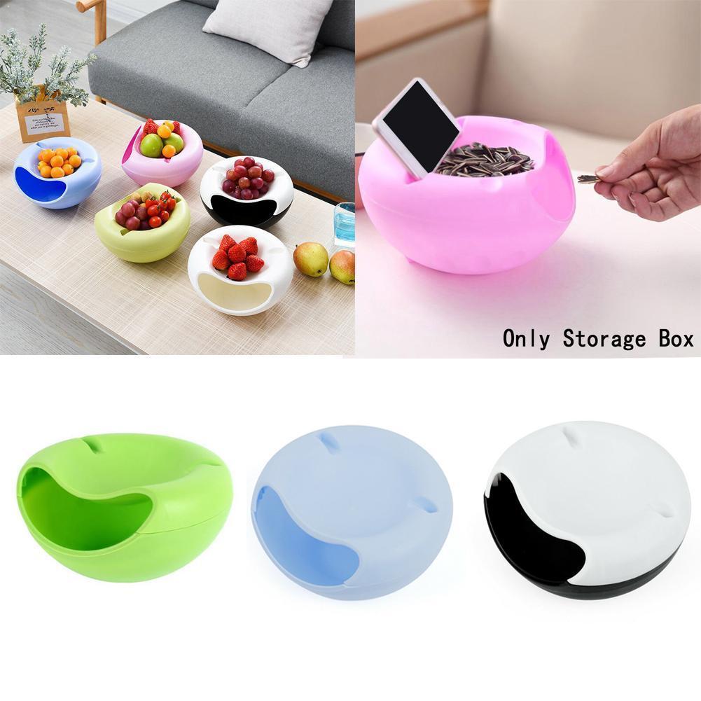 Creativo perezoso comer tazón de plástico de doble capa de 4 teléfono caja de tazón de fruta Chase y soporte artefacto colores de St W2Y9