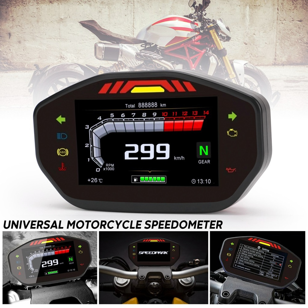 Velocímetro Digital LCD Universal para motocicleta, 14000RPM, odómetro de 6 engranajes para motocicleta