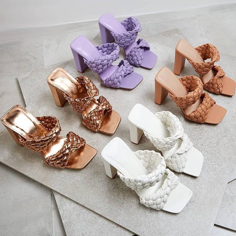 Cuir tressé sandales à talons hauts femmes chaussures de fête croix tissé plis Mules chaussures Sexy talon mince pantoufles femme grande taille 42