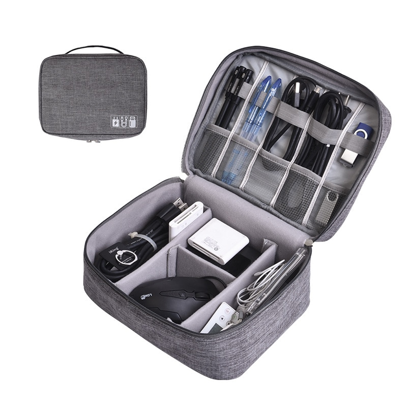 Portable Digital Storage Bags Organizer USB Gear Cables Wires Charger Power Battery Zipper Phone Bag