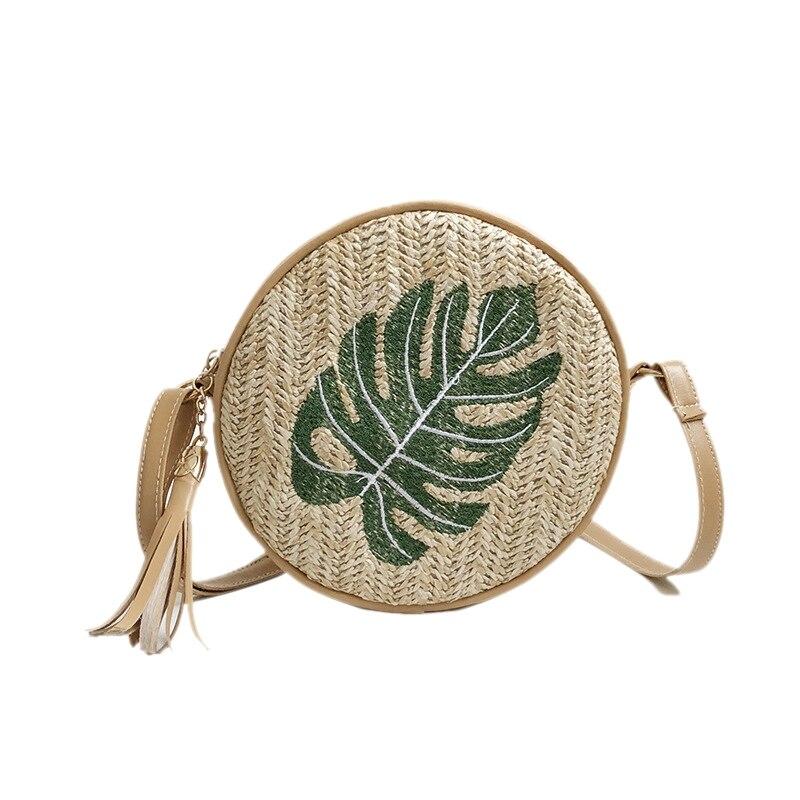 ABDB-bolsos redondos de paja para mujeres hojas de ratán bolsas de hombro de playa señoras Cossbody bolsa femenina Bohemia hecha a mano