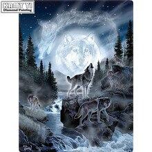 Diy diamond mozaïek verf op canvas 3d diamond schilderen cross stitch kit diamond borduurwerk dier wolfs foto Craft gift