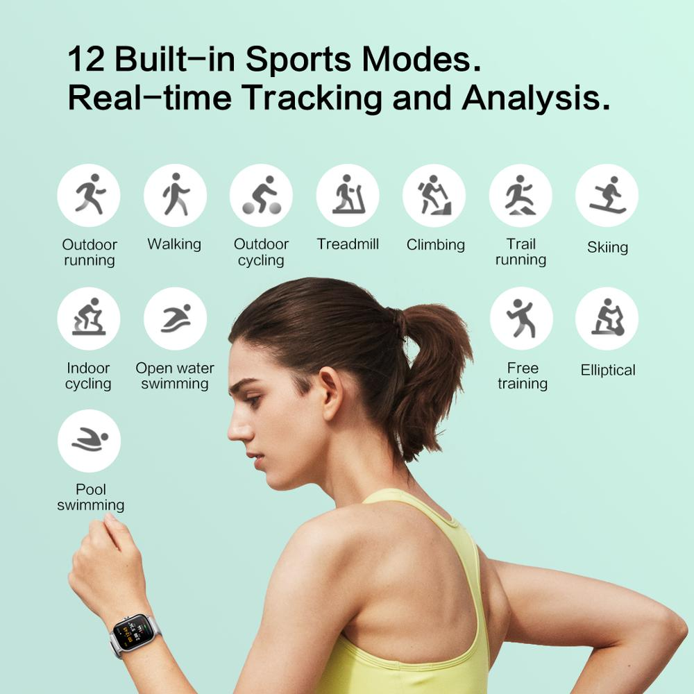 Original Amazfit GTS 2 Smartwatch 12 Sport Modes 5ATM Water Resistant Alexa Built-in AMOLED Display All Day Tracking Smart Watch