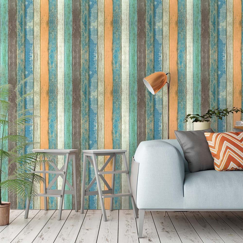 Papel Tapiz De Color Mediterráneo Vintage, Papel Tapiz Autoadhesivo, decoración De grano De madera, pegatinas De Pared 3D para el hogar y salón