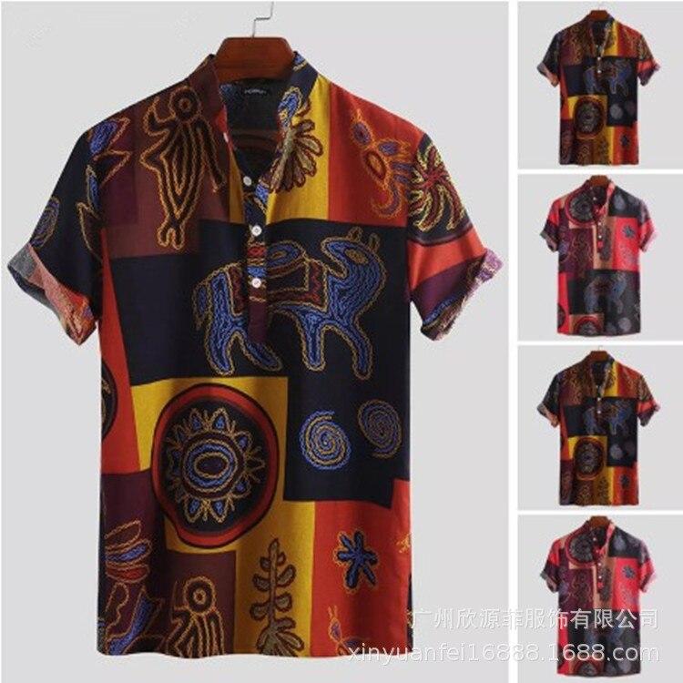 Новинка 2021, лидер продаж, пляжные рубашки с принтом, мужские футболки, рубашка на пуговицах