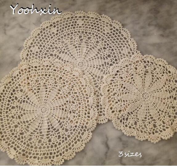 25-35CM redondo moderno de lujo hecho a mano de algodón Crochet tapetes lote manteles almohadillas de mesa para mesa de comedor accesorios de cocina