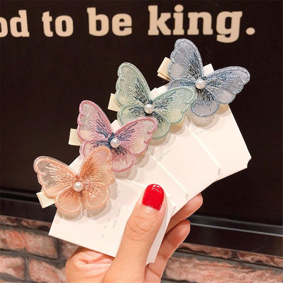 5 uds. Horquilla de hilo Retro estereoscópica mariposa Clip de pelo flequillo mujer perla malla niñas boda Shoot Decoración Accesorios para el cabello