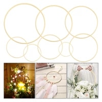 bamboo floral hoop wreath wooden hanging circle macrame dream catcher hoops rings for diy wedding wreath decor nordic decoration