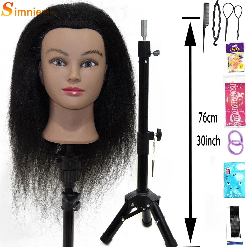 """15""""100%Real Human Hair Afro Mannequin Head Hairdressing Dolls Training Head for Practice Styling Braiding With Adjustable tripod"""