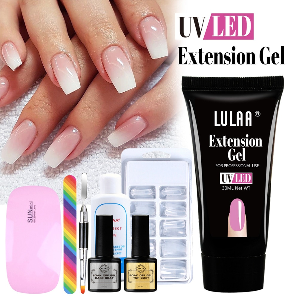 Nail Extension Gel Kit All for Crystal UV/LED Nails White or Pink Extension Gel Manicure Set Homemad