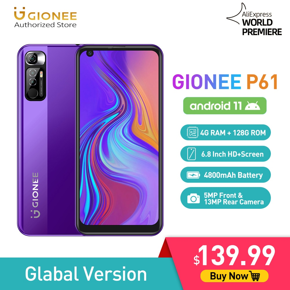GIONEE P61 Android 11 Smartphone Helio P60 CellPhone 4G+128G Mobile Phone 6.8
