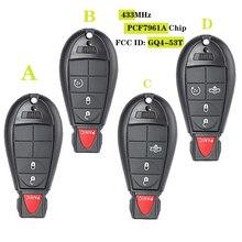 Puce 433MHz PCF7961A   2 + 1/ 3 + 1 4/ 4 + 1, 5 boutons de clé à distance, Fob pour Dodge RAM 1500 2500 3500-4500