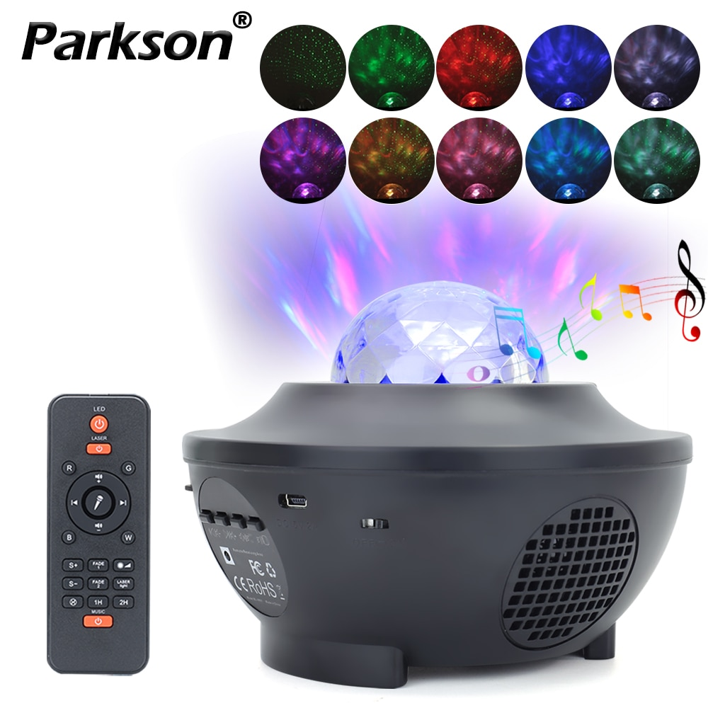 LED ستار غالاكسي العارض USB بلوتوث مشغل موسيقى الدورية الملونة السماء المرصعة بالنجوم موجات ليلة ضوء غرفة ديكور هدايا رومانسية
