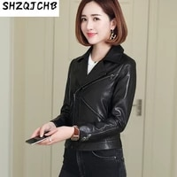 shzq leather womens 2021 autumn and winter new sheep vegetable tanning slim motorcycle jacket jacket short