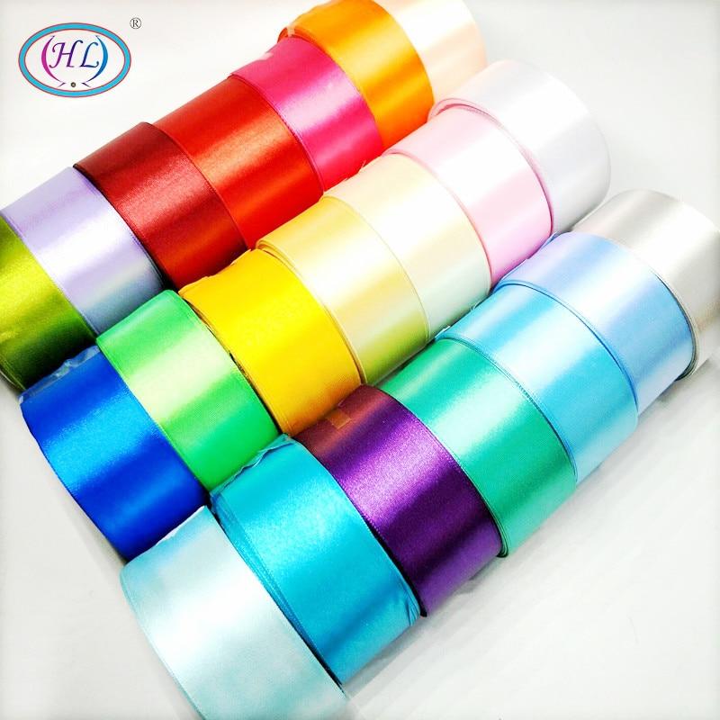 HL 5 metros 15/20/25/40/50mm cintas de satén de Color sólido caja de regalo decorativo de boda cinta para envolver manualidades DIY