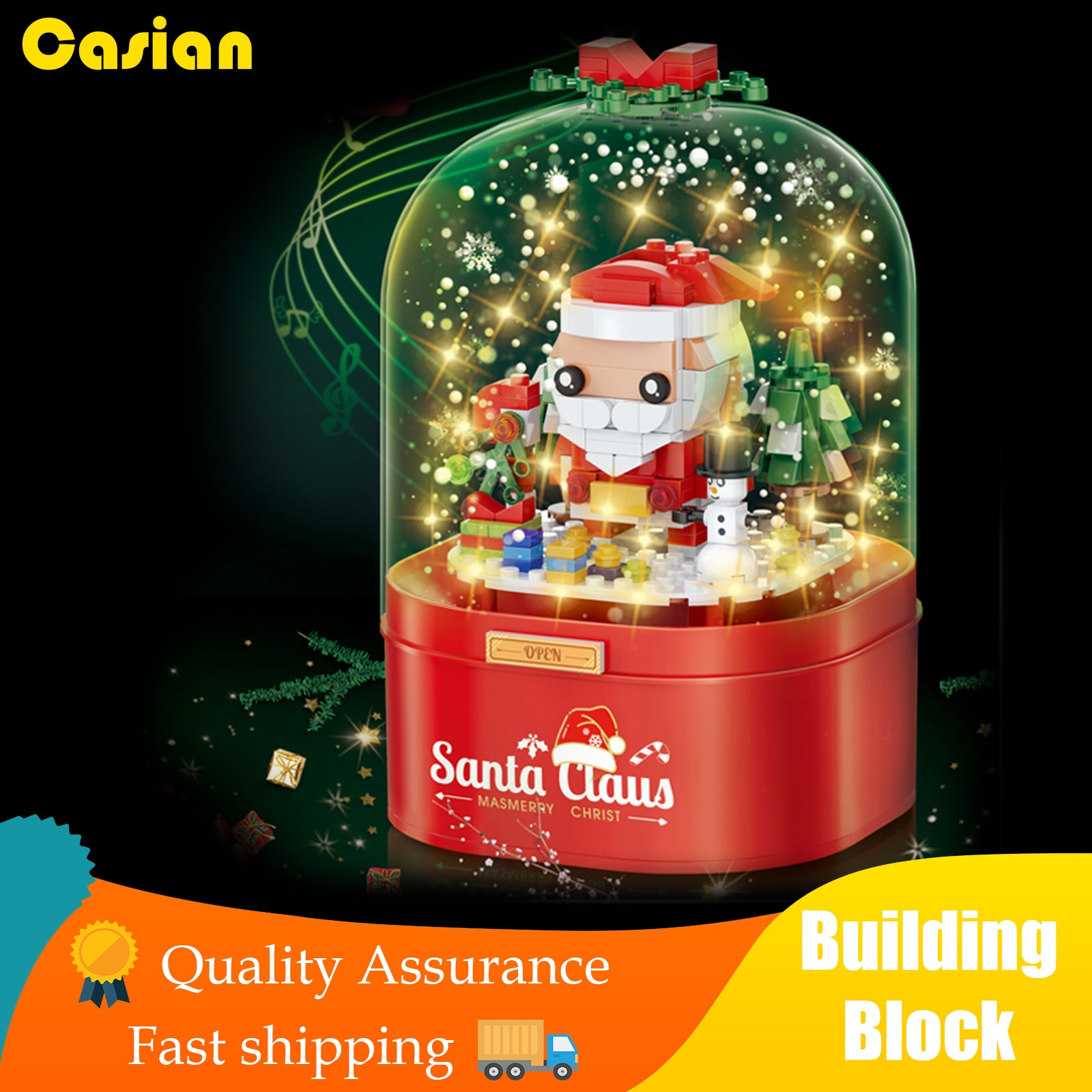 Christmas Music Box Building block Room Decor Children's Xmas Gift Dust Cover Rotating Music Floatin