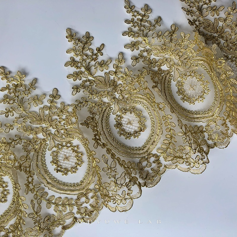 aliexpress.com - Delicate 1Yard Gold Embroidery White Mesh Lace Trim Diy Luxury Applique Flowers Garment  Lace Fabric for Wedding Dresses 31cm