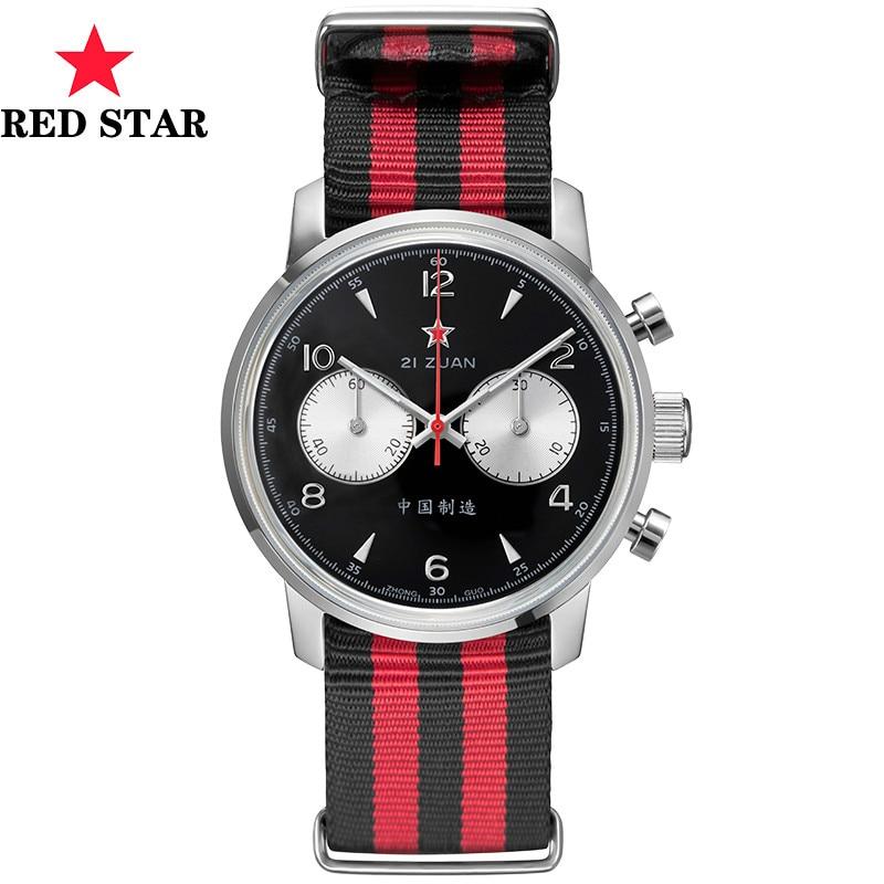 Relojes cronógrafo de la Fuerza Aérea para piloto, Marca Top para hombres, esfera de zafiro de lujo, Original ST1901, reloj mecánico chino para hombres con estrella roja