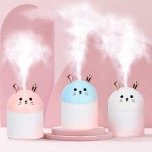 Humidificador de aire ultrasónico para el hogar, fabricante de niebla de coche con coloridas lámparas USB de gato nocturno, purificador de aire de aromaterapia