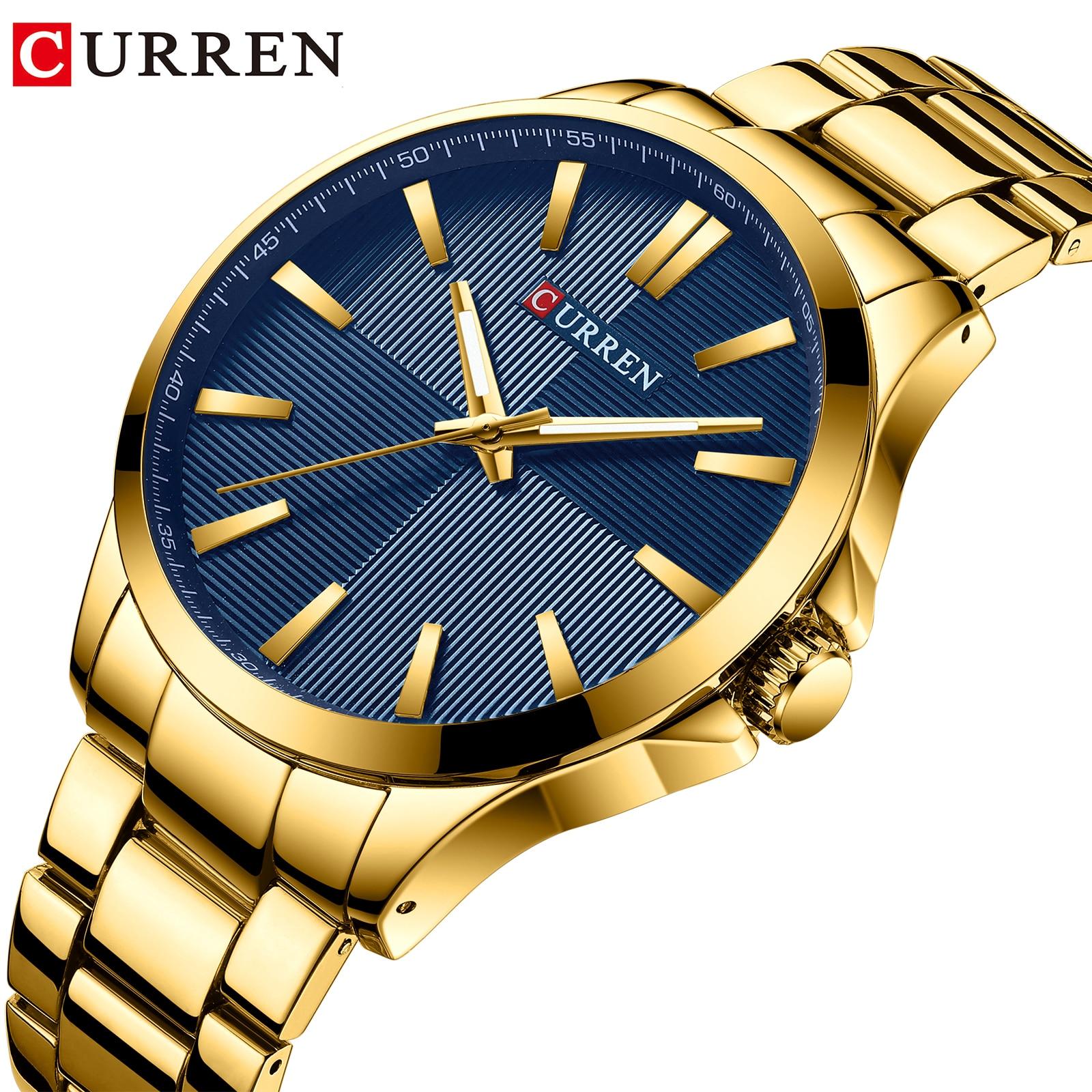 CURREN Gold Men Sport Watch Quartz Wristwatches Business Clock Stainless Steel Luxury Brand Waterproof Relogio Masculino