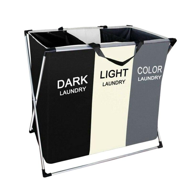 سلة غسيل قابلة للطي, تأتي مع 3 أقسام كبيرة للملابس المتسخة