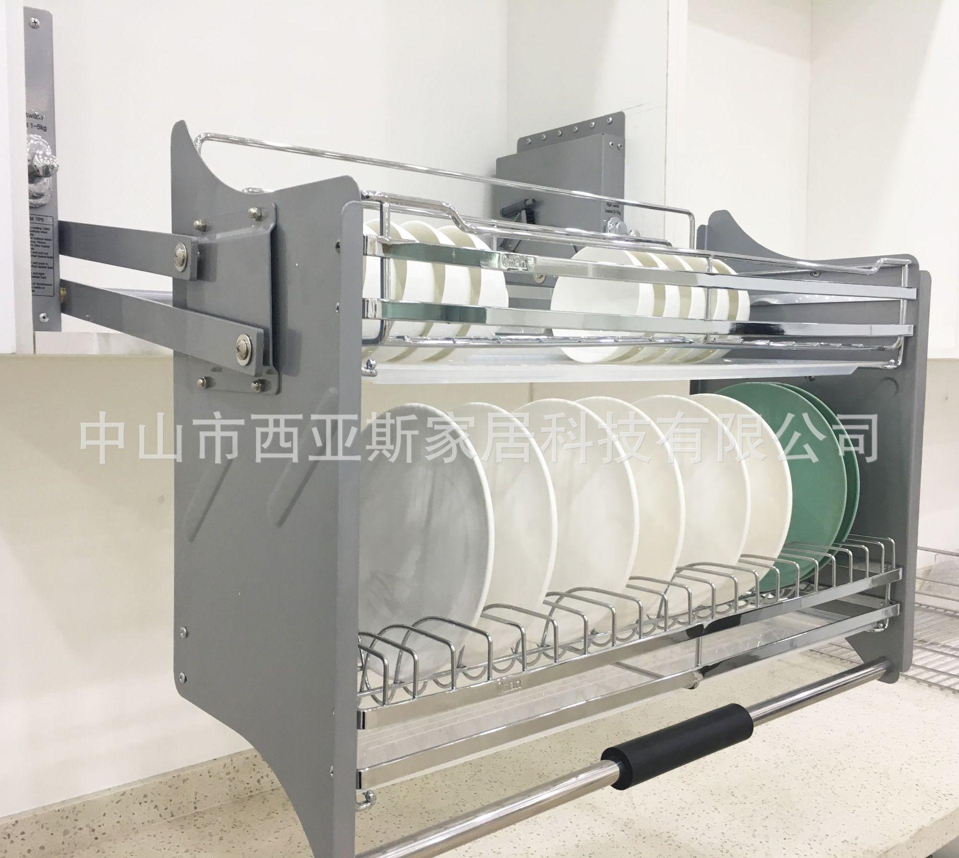Segment Descent Stainless Steel Adjustable Intensity Lift Cabinet Dishes Basket Hanging Cabinet Lifting Basket