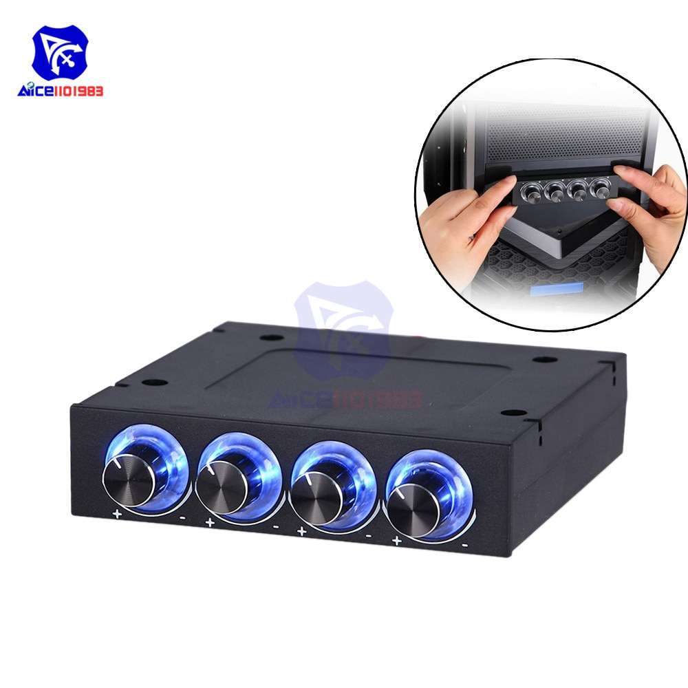 diymore 4 Channel Turn Knob Multi-Fan Cooling Controller Front Panel -3.5 4 Pin Connector CPU HDD Temp PC Fan Speed Controller
