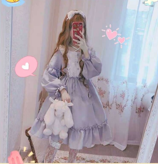 Lolita alice vestido japonês menina loli terno saia bonito vestido japonês doce lolita vestido vintage suporte puff manga cintura alta corte
