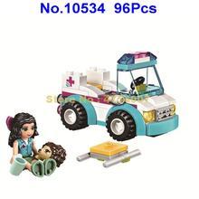 10534 96pcs girl friends vet ambulance emma heartlake city 1 figure  41086 building block Toy
