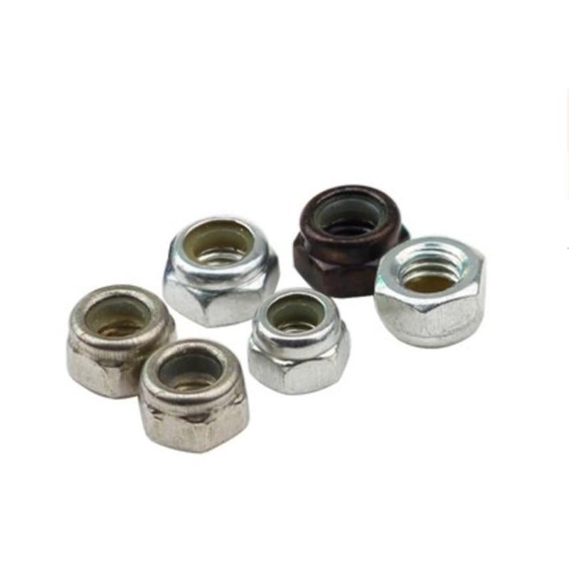 10-50 шт. DIN985 M2 M2.5 M3 M4 M5 M6 m8 m10 сталь с черным или белым Znic нержавеющая сталь нейлоновая Замочная гайка