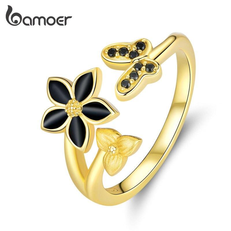 bamoer GAR087 925 Sterling Silver Dancing Butterfly & Flower Open Rings For Women Female Wedding Ring Silver Jewelry Trendy Gift