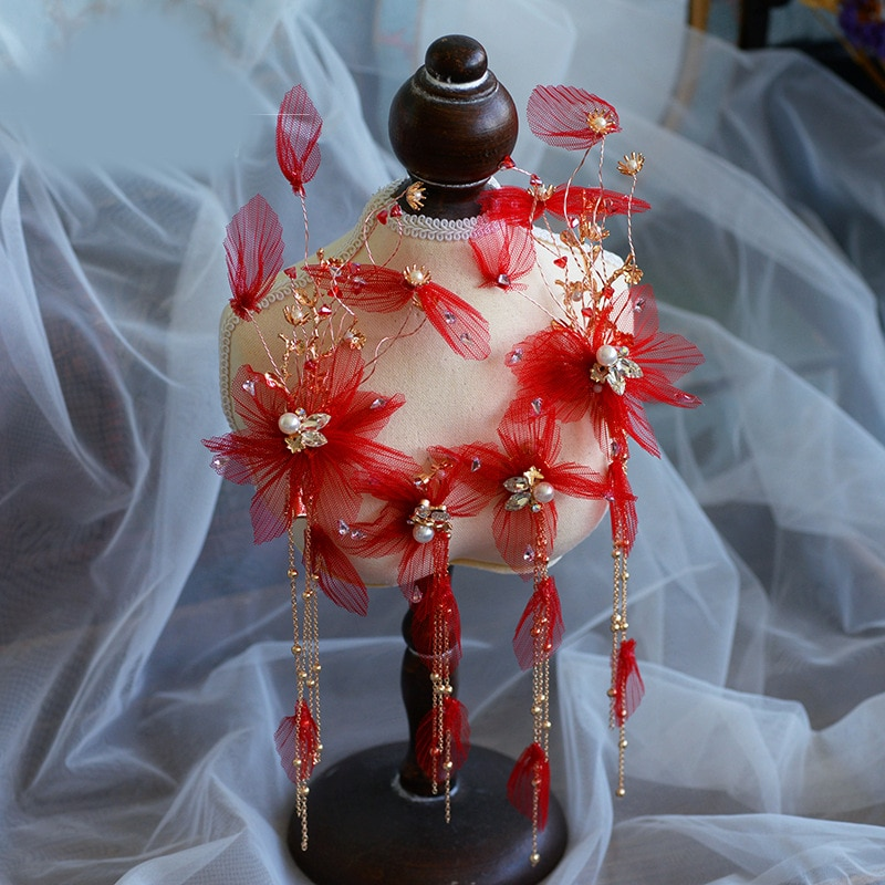 Hecho a mano con borlas Floral nupcial peine Tiaras tocado de novia...