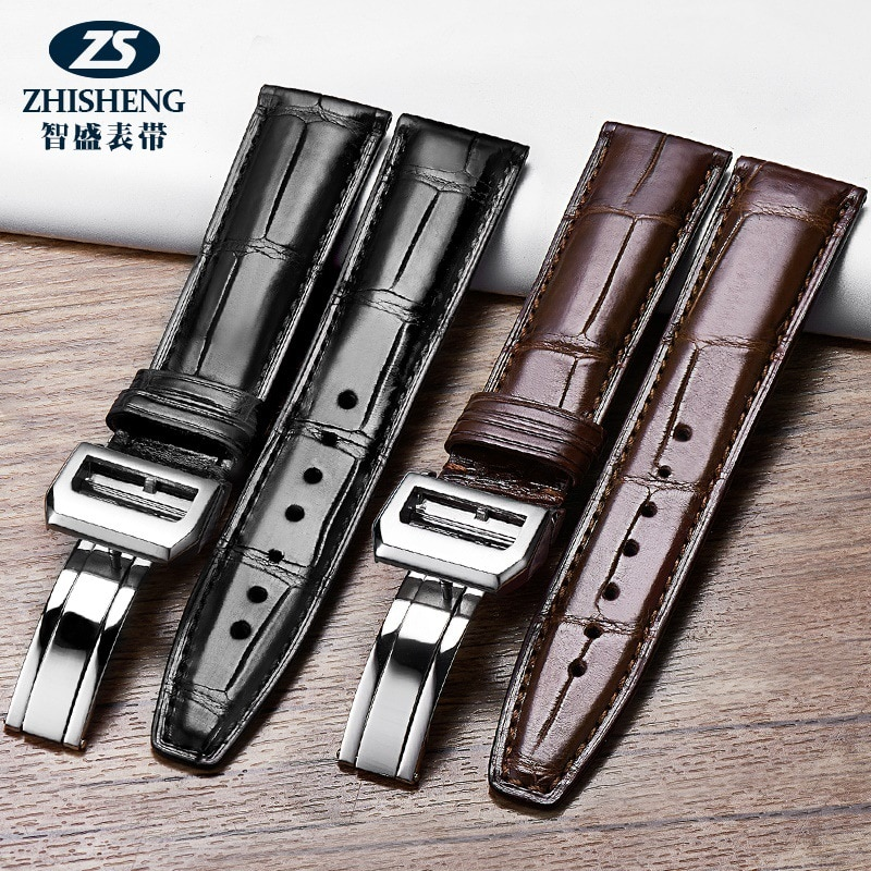 Crocodile leather slub pattern strap, leather men's generation IWC Portugal series pilot Portuguese 7-31 enlarge