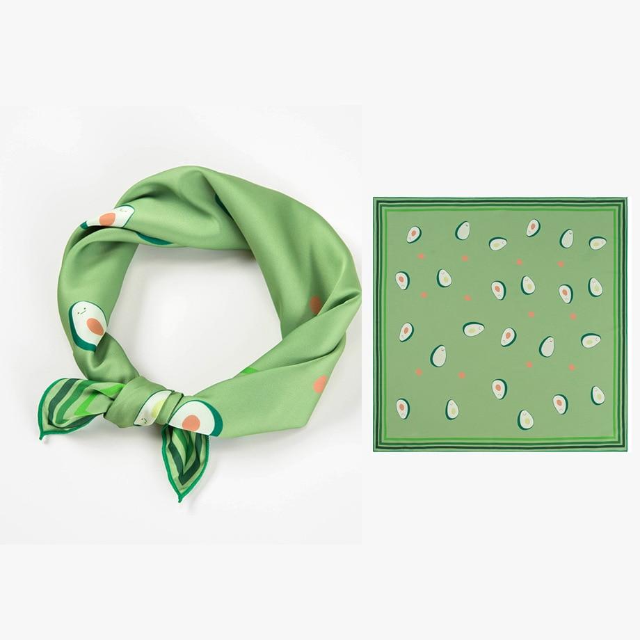 53X53CM New Korean small square silk scarf for girls female avocado green printed ladies silk scarf Handkerchiefs Top Quality