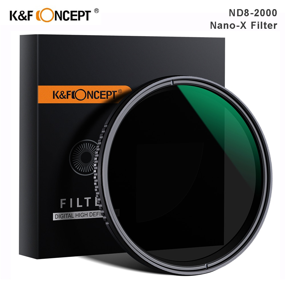 K & F مفهوم نانو X ND8-ND2000 متغير ND تصفية 37 مللي متر 49 مللي متر 52 مللي متر 67 مللي متر 72 مللي متر 77 مللي متر 82 مللي متر محايد الكثافة تصفية لكانون سوني ...