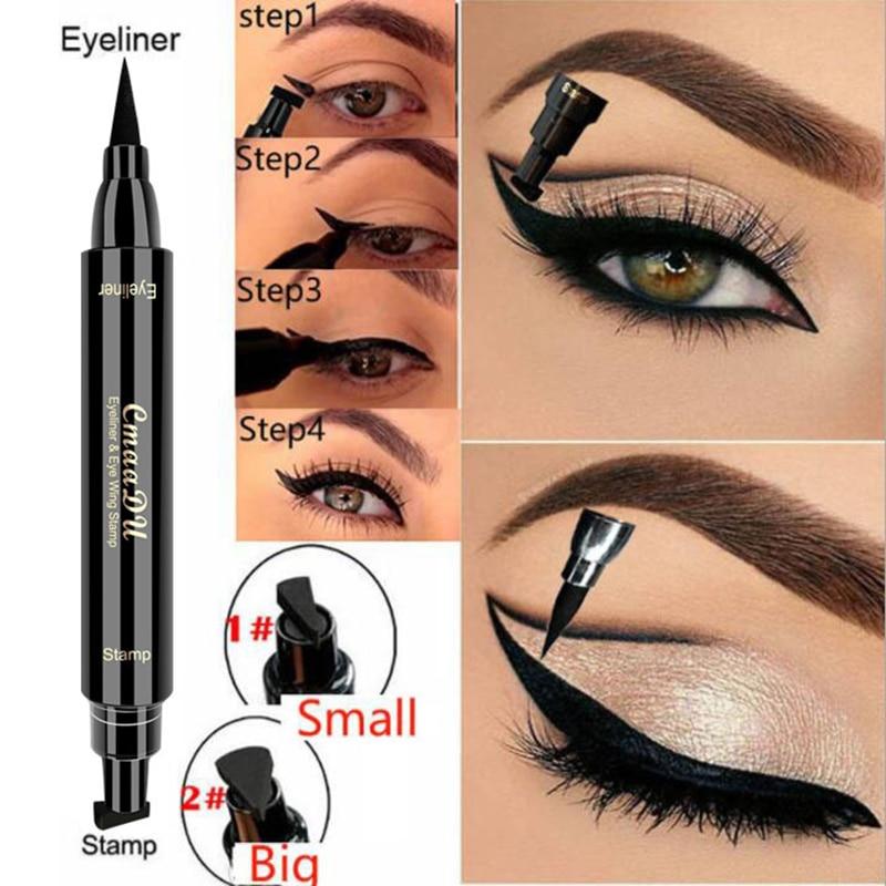 Crayon pour les yeux liquide imperméable à leau durable noir Double tête timbre pour les yeux Super chat Style timbre Eyeliner outil de tatouage TSLM2