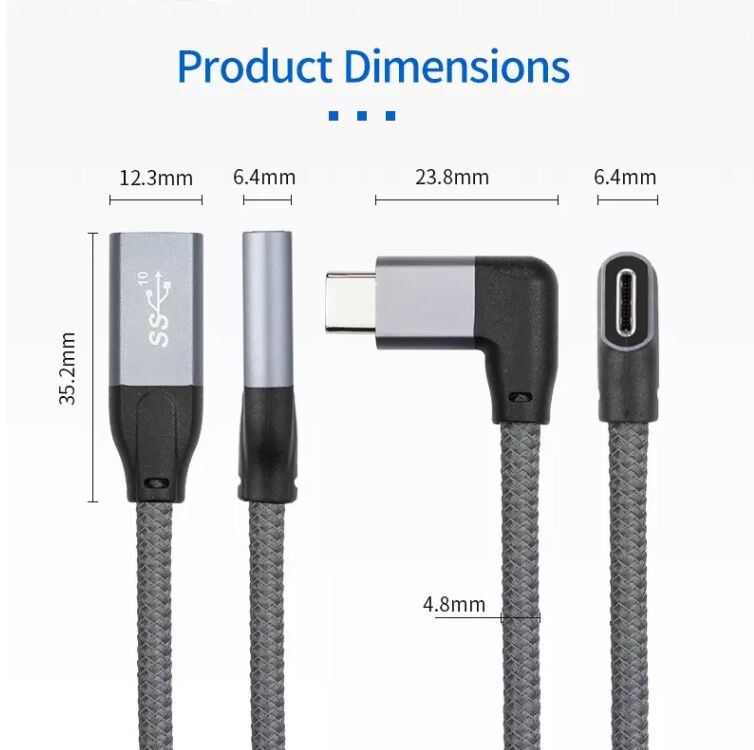 90 Degree angle USB3.1 USB C extension cable Type-c male to female extender with braide cable high speed 10Gbps  - buy with discount