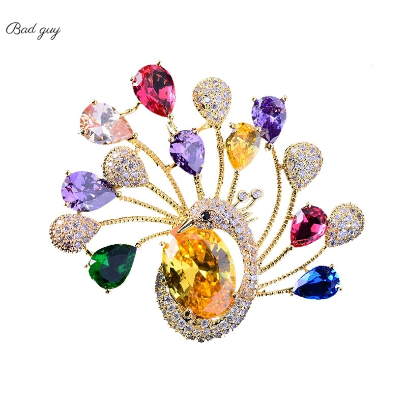 Colorful Peacock Brooch for Women Zicon Pin Brooches Luxury Jewelry 2021 Clothes Scarf Buckle Garment Accessories Jewelryes Gift