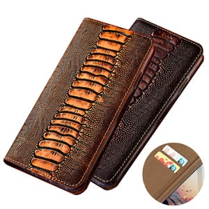Ostrich grain genuine leather magnetic phone bag card holder for OPPO A92S/OPPO A92/OPPO A91/OPPO A72 5G/OPPO A72 holster cover
