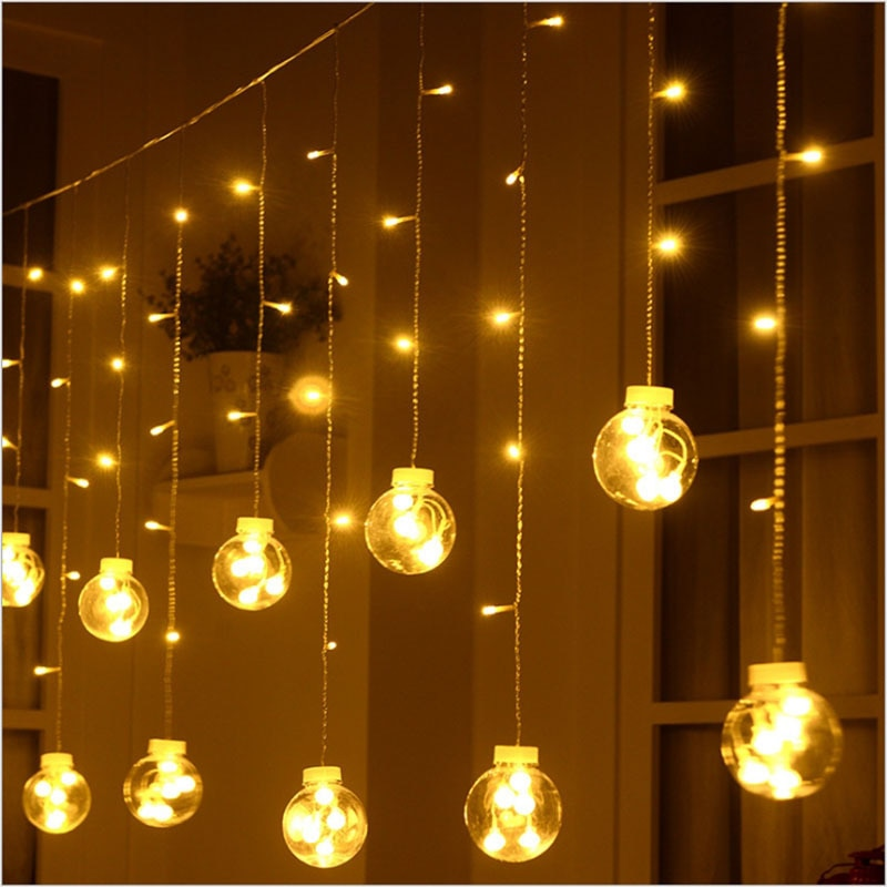 3M 138LED Wish Ball  Curtain String Fairy Light Indoor Outdoor Christmas Garland For Party Wedding Garden Holiday Decoration