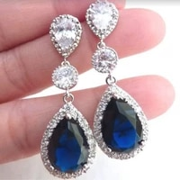 2021 new daily birthday party engagement anniversary gift drop shaped sapphire earrings for women simple fashion earrings