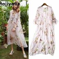 natural real silk summer dress women boho floral white dress woman elegant long sexy party dress beach dresses vestidos others