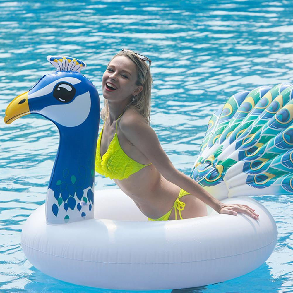 Inflatable Peacock Swimming Circle Pool Float Rubber Ring for Adult Kids Lifebuoy Thick PVC Swim Ring Summer Beach Toys women floral print swimming ring pink inflatable flamingo swimming circle inflatable donut lifebuoy girls beach toys 2019 summer