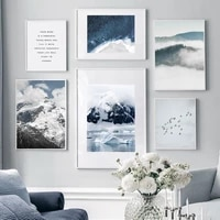 snow mountain birds sea sky cloud quotes nordic posters and prints wall art canvas painting wall pictures for living room decor