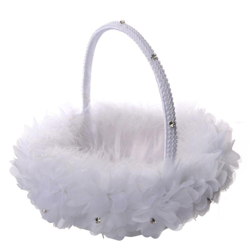 Для девочек в цветочек корзины ткани с кружевной отделкой и симпатичная ручка для девочек в цветочек корзина белая Цветочная корзина для Св...