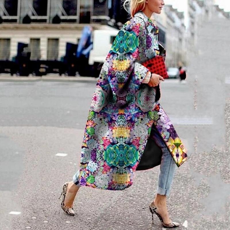 Gabardina de moda para mujer, abrigo largo con estampado de manga acampanada,...
