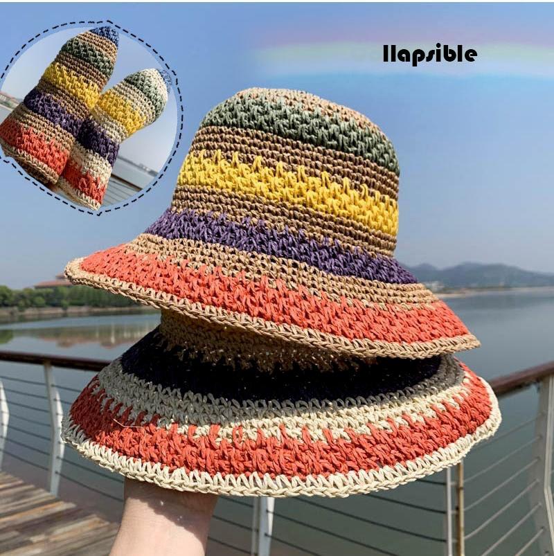 2021 New Summer rainbow Straw Hats for Women Fashion Wide Eaves Sunshade Bonnets art Fisherman Cap Splicing Outdoor Beach Sunhat