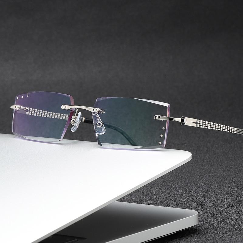 ZIROSAT 58129 Square Rimless Optical Glasses Frame Men Myopia Prescription Eye Glasses Frames For Men Spectacle Frames